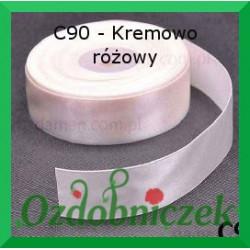 Tasiemka satynowa 25mm kremowo różowy C90 SZTYWNA
