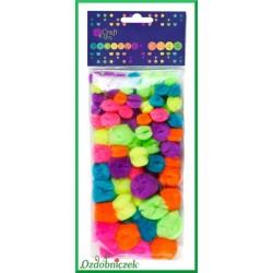 Pompony neonowe mix kolorów 78 sztuk