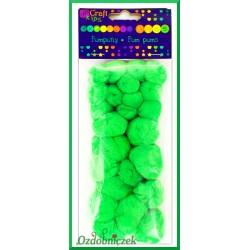 Pompony puszyste mix rozmiarów zielone