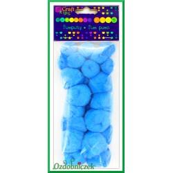 Pompony puszyste mix rozmiarów niebieskie