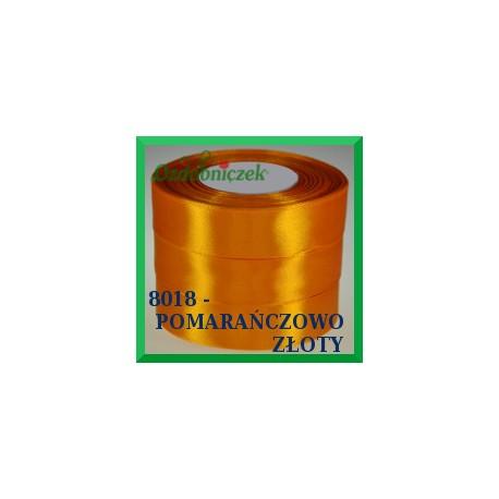 Tasiemka satynowa 25mm kolor pomarańczowo złoty 8018