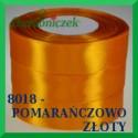 Wstążka tasiemka satynowa 25mm kolor pomarańczowo złoty 8018