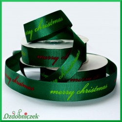 "Tasiemka rypsowa zielona ""merry christmas"" 25mm/1mb"