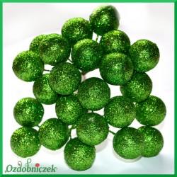 Bombki brokatowe zielone 12szt.