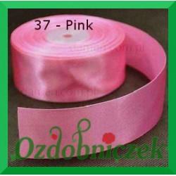 Tasiemka satynowa 25mm pink 37 SZTYWNA