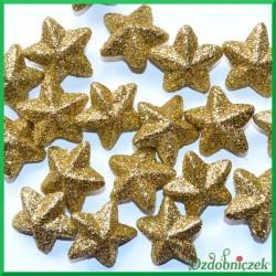 Gwiazdki brokatowo 48 szt-złote 4 cm