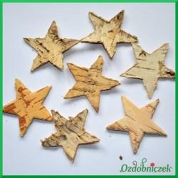 Gwiazdki naturalne z kory brzozy 3.5cm