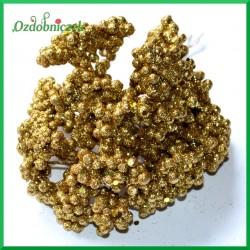 Mini kuleczki brokatowe złote gałązka 6szt