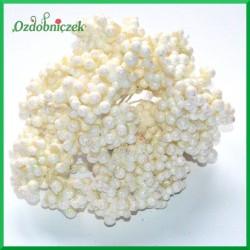 Mini kuleczki brokatowe białe gałązka 6szt
