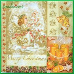 Serwetka do decoupage anioł Merry Christmas 1szt.