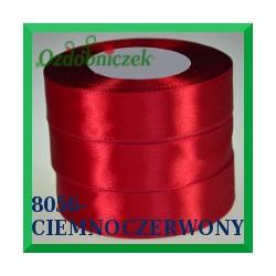 Wstążka tasiemka satynowa 25mm kolor ciemny czerwony 8056
