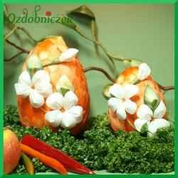 Kraszanka Kwiatowa 10 cm - jajko  pomarańczowe + naturalne kwiatki