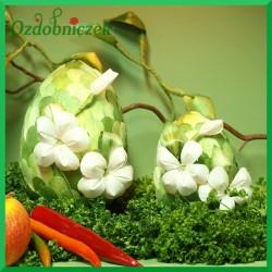 Kraszanka Kwiatowa 10 cm - jajko  zielone + naturalne kwiatki