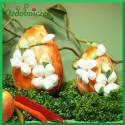 Kraszanka Kwiatowa 15 cm - jajko  pomarańczowe + naturalne kwiatki