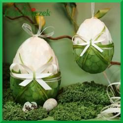 Kraszanka z kokardą 10 cm jajko zielona
