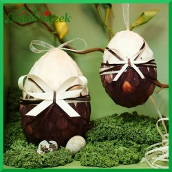 Kraszanka z kokardą 10 cm jajko brązowe