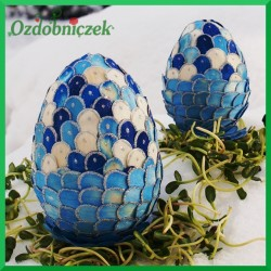 Witrażowa obiata 10 cm jajko szafirowo - niebieskie