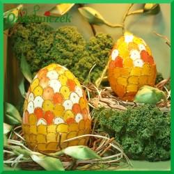 Witrażowa obiata 10 cm jajko pomarańczowo-żółte