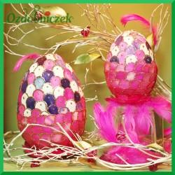Witrażowa obiata 10 cm jajko fioletowo - różowe