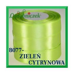 Wstążka tasiemka satynowa 25mm kolor zieleń cytrynowa 8077