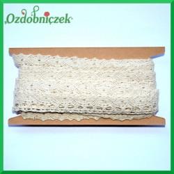 Koronka bawełniana beżowa ażurowy szlaczek z oczkami  - KRB46