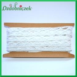 Koronka bawełniana biała ażurowy szlaczek w romby  - KRB15