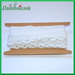 Koronka bawełniana biała szlaczek z falbanką  - KRB27