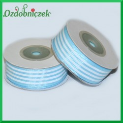Tasiemka rypsowa paski błękitno-biała 18mm/10mb