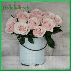 Serwetka do Decoupage róże w wiaderku 1 szt.