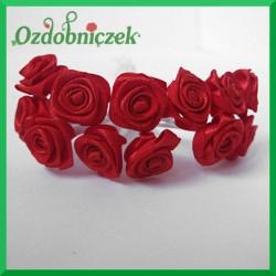 Różyczki satynowe na druciku czerwone