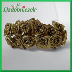 Różyczki satynowe na druciku złote