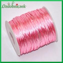 Sznurek satynowo - gorsetowy 2mm/50mb rolka Różowy