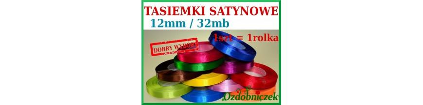 Wstążki tasiemki satynowe 12mm